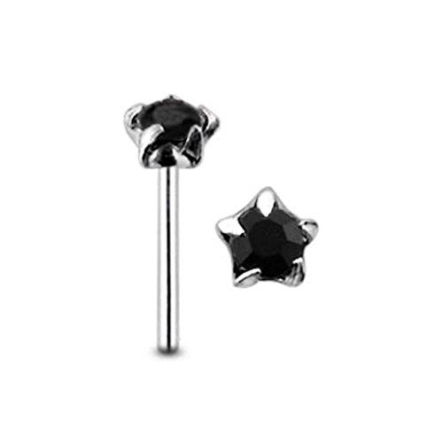 Black Star Set Round Gemstone Top 22 Gauge - 8MM Length Silver Straight End Nose Stud Nose Pin - Gemstone Nose Pin