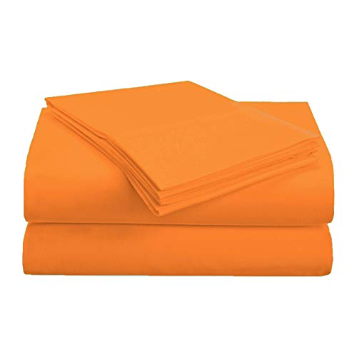 Superior 1500 Series Premium Quality 100% Brushed Soft Microfiber 4-Piece Luxury Deep Pocket Cooling Bed Sheet Set, Hypoallergenic, Wrinkle and Stain Resistant - California King, Orange (California Orange City)