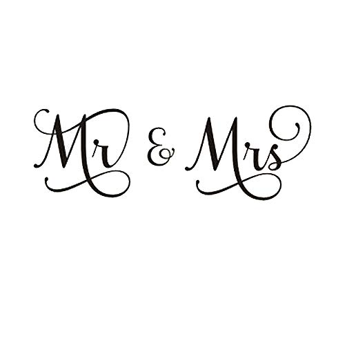 """(Large, 50""""w x 17""""h) Mr and Mrs Husband and Wife Couples Headboard Bedroom Hand-made Wall Decals Stickers Arts Decor Home Vinyl Lettering Sayings Quotes Romantic Wedding Anniversary"""