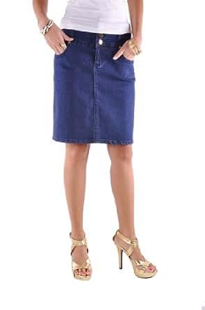 Style J Buttons Up Denim Skirt-Blue-36(16)
