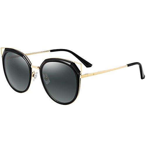 Foncé polarisée yeux soleil femme grandes lunettes de Elégant chat Gris 71xwqzvnO