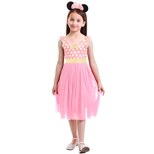Minnie Costume Little Girl Birthday Tutu Dress with Ear Headband Stage Performance Halloween Dress up Christmas Long Dress Pink 3-4 Years]()