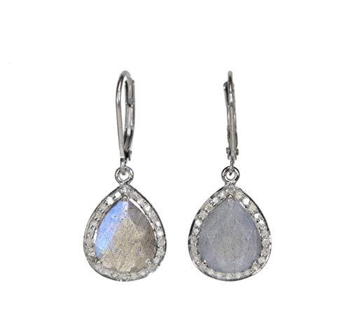 Genuine handmade pave diamond Earring Diamond Silver Earring .925 Oxidized Sterling Silver Diamond Earring