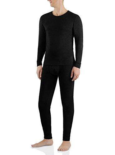 Wool Underwear Long Johns - David Archy Men's Heat Retention Warm Long John Underwear Thermal Set (Black, L)