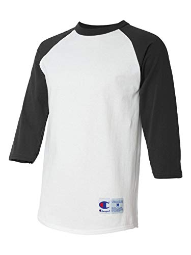0501b15f Champion Men's Raglan Baseball T-Shirt, White/Black, Medium