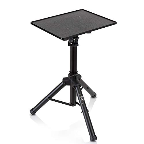 Universal Laptop Projector Tripod Stand - Computer, Book, DJ Equipment Holder Mount Height Adjustable Up to 35 Inches w/ 14'' x 11'' Plate Size - Perfect for Stage or Studio Use - PylePro PLPTS2 Audio Rack Storage Set