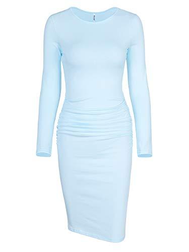 Missufe Women's Ruched Casual Sundress Midi Bodycon Sheath Dress (Long Sleeve Crew Neck Light Blue, X-Small)