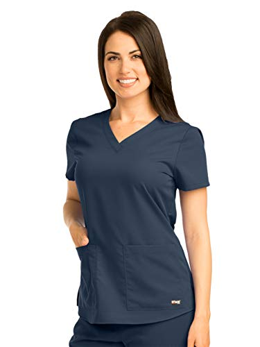 (Grey's Anatomy Women's Two Pocket V-Neck Scrub Top with Shirring Back, Steel, 3X-Large)