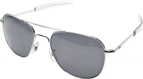Gray Polarized Lens Silver Frame (AO Original Pilot 57mm Silver Frame with Bayonet Temples and  Color Correct Gray Polarized Polycarbonate )