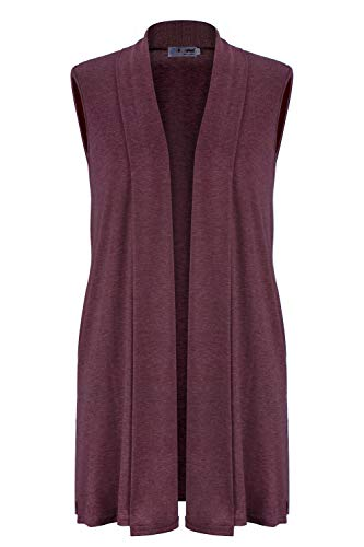 Women's Sleeveless Shawl Draped Waterfall Open Front Cardigan Vest Top S-XXL Wine Red