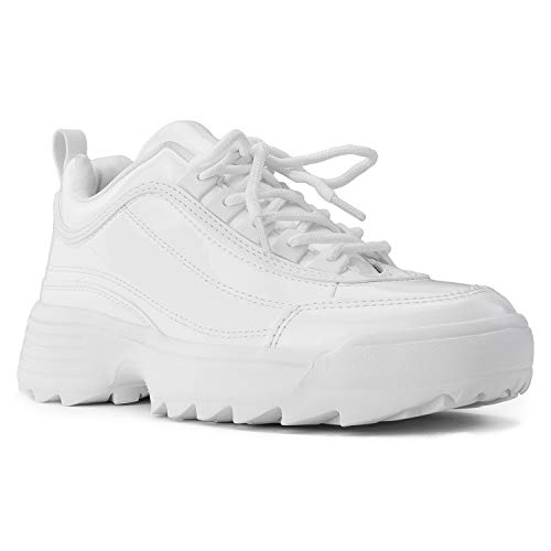 RF ROOM OF FASHION Women's Dad Sneakers Lace-up Light Weight Chunky Platform Shoes White Size.6