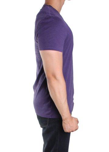 Short Sleeve Overdyed Chine V-neck Vintage Wash T-shirt in Purple (XL)