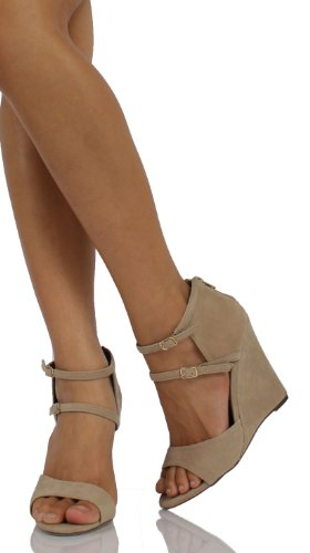 Taupe Faux Suede Brede Riem Mary Jane Sleehak 4 1/4 Stana02