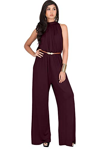 KOH KOH Plus Size Womens Sexy Sleeveless Halter-Neck Wide Leg Pants Cocktail Overall Long Work Day Suit Pant Suits Pantsuit Playsuit Jumpsuit Jumpsuits Romper Rompers, Maroon Wine Red XL 14-16 ()