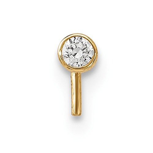 14k Yellow Gold 2.5mm Cubic Zirconia Cz Nose Stud Body Nostril Fine Jewelry Gifts For Women For Her ()