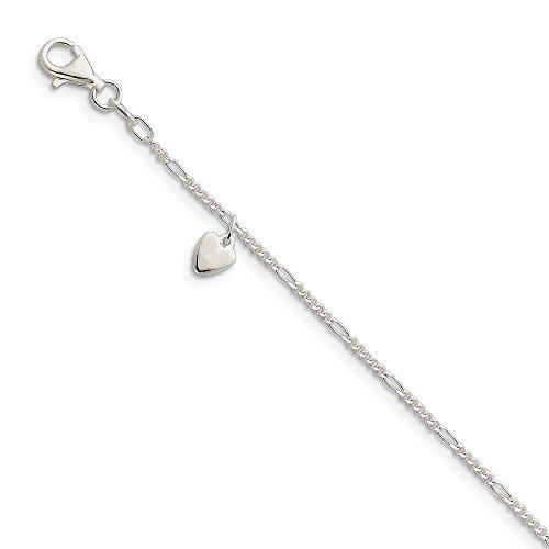 Sterling Silver Dangling Heart Anklet