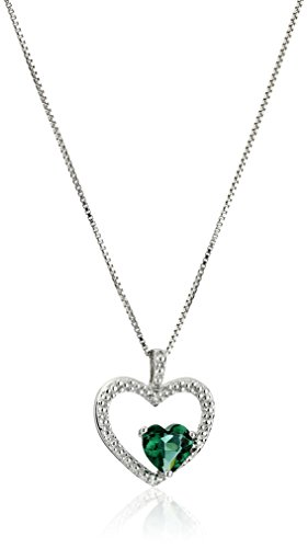 Emerald Gemstone Heart (Sterling Silver Created Emerald and Diamond Accent Heart Pendant Necklace, 18