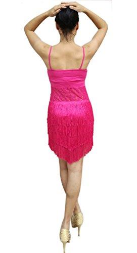 Whitewed Rumba Salsa Samba Latine Jive Robes Danse Récital Costumes Femmes Adultes Rose