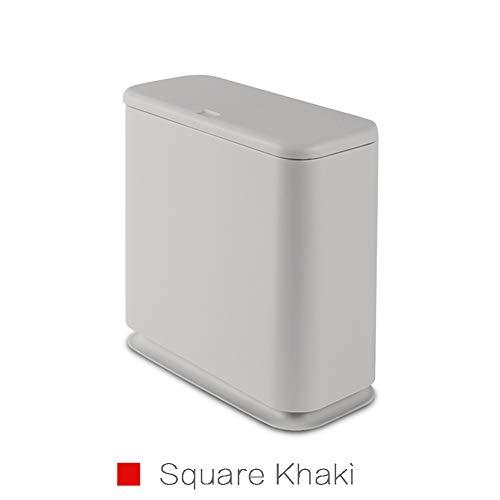 DAIMER Press Type Elliptical/Rectangular Crack Plastic Trash can Waste Cans 15-Liter/4-Gallon (Square Khaki)