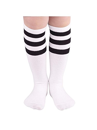 Durio Girls Thigh High Socks Knit Knee High Socks Striped Cosplay Tube Sock for Kid Boys Stockings Leg Warmers 1 Pack White w Black One Size