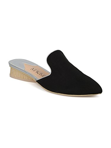 Alrisco Women Faux Suede Pointy Toe Low Heel Mule Slide HE62 Black Faux Suede