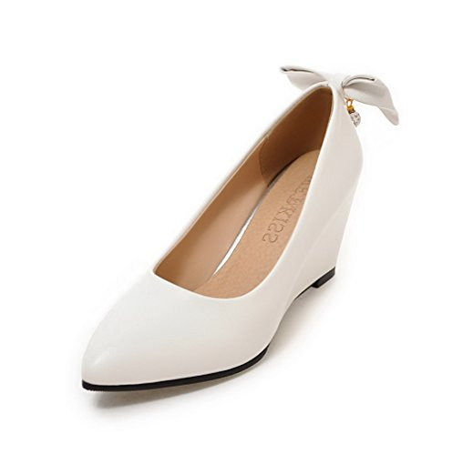 Toe Odomolor Women's Heels Solid On High 31 White Pointed PU Pull Pumps Shoes nwaY6qwC