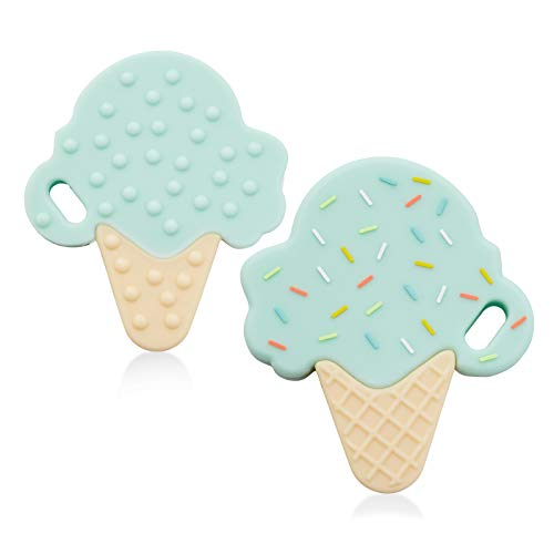 Ali+Oli Baby Teether Mint Ice Cream | BPA & Phthalates Free | Freezer Friendly & Mom Approved | Perfect Infant Teething Toy to use with a Pacifier Clip | Baby Chew Toys for Teething Pain Relief ()