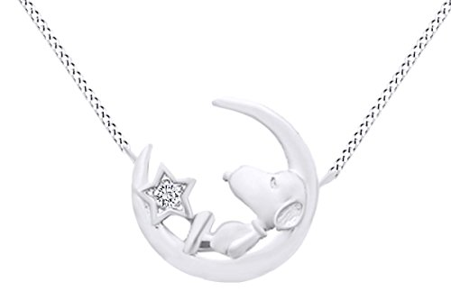 Christmas Sale Round Cut White Natural Diamond Snoopy Star Moon Pendant In 925 Sterling Silver (0.02 cttw)