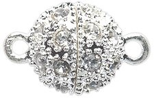 Shipwreck Beads Electroplated Metal Ball Magnetic Clasp with Rhinestone, 12 mm, Silver, 2-Pack (Ball Pave Clasp)