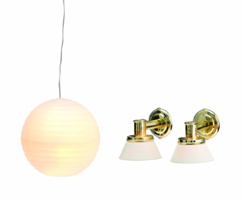 Lundby Smaland Dollhouse Rice Lamp and 2 Wall Sconces Set