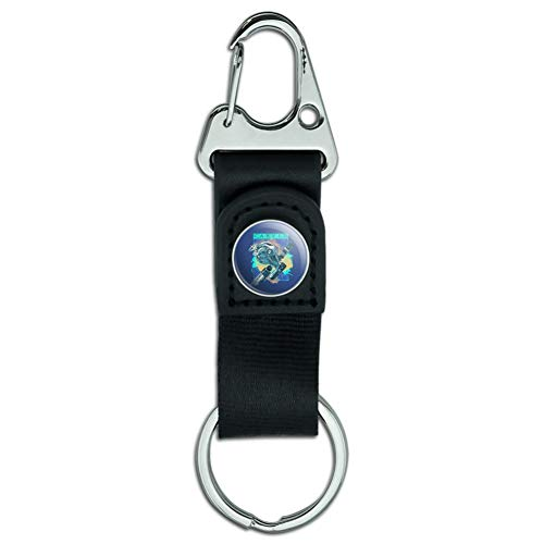 Carved Marlin Sailfish Fishing Reel Belt Clip-On Carabiner Leather Fabric Keychain Key Ring ()