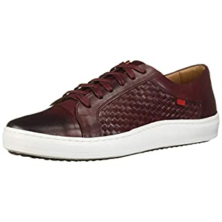 MARC JOSEPH NEW YORK Men's Leather Made in Brazil Luxury Lace-up Detail Fashion Sneaker, Wine Brushed Nappa/Weave, 13 M US