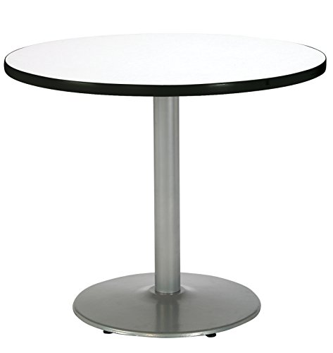 KFI Seating Round Pedestal Table with Round Silver Base, Commercial Grade, 30-Inch, Crisp Linen Laminate, Made in the USA by KFI Seating (Image #1)'