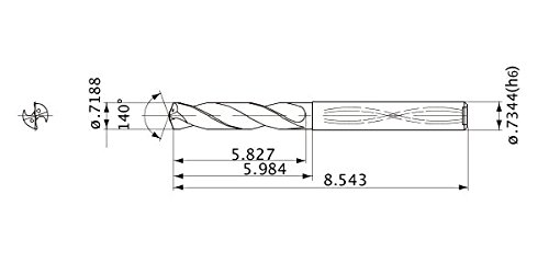 18.258 mm Cutting Dia Mitsubishi Materials MWS07188LB MWS Series Solid Carbide Drill 18.654 mm Shank Dia. 5 mm Hole Depth 3.3 mm Point Length Internal Coolant