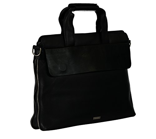 (Ochnik Men's Black Genuine Leather Briefcase with Magnetic Flap, Shoulder Strap and Padded iPad, Tablet)