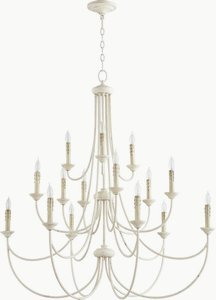 Quorum Lighting 6250-15-70, Brooks 3 Tier Chandelier Lighting, 15LT, 300 Watts, Persian White