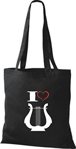 Shirtstown Stoffbeutel Musik I love Hand Harfe Harp Schwarz