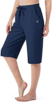 NAVISKIN Women's Capri Pants Yoga Lounge Crop Pants Open Bottom Pants Side Poc