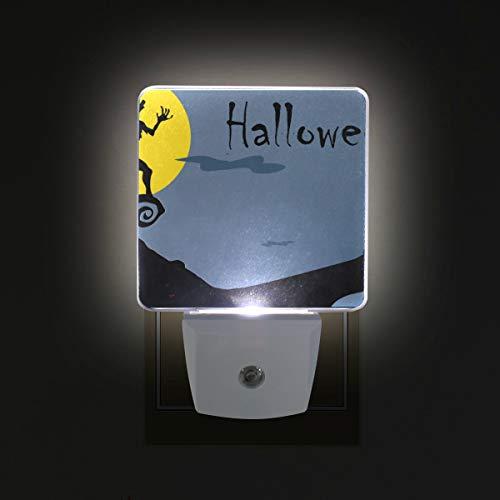 DEYYA Halloween Wolf Howl Plug in LED Night Light, Night Auto Sensor Smart Lighting Dusk to Dawn Decorative Night for Bedroom Bathroom Kitchen Hallway Baby's Room,US Plug,2 Pack ()