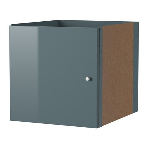 (Ikea Kallax Insert with Door High Glass Gray Turquoise)