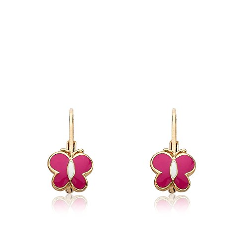 Little Miss Twin Stars Kids Earrings -Hot Pink Frosted Butterfly 14k Gold Platedls Earrings Enamel Pink Butterfly Leverback Girls Earrings-Brass