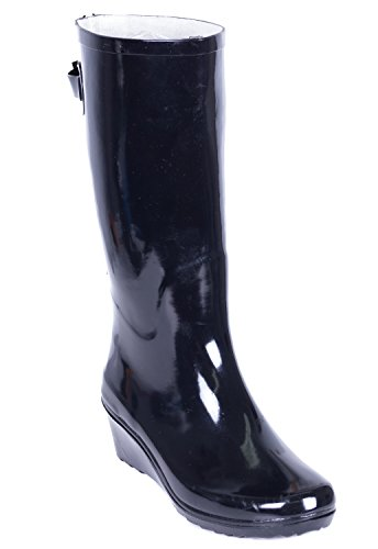 Women Wedge Rubber Rain Boots by Forever Young Black /W Zipper 0bR1B