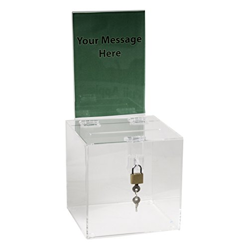 - Clear-Ad - SBB-66-H - Acrylic Donation Box with Lock and Sign Holder - Plastic Countertop Container - Best for Voting, Charity, Ballot, Survey, Raffle, Contest, Suggestions, Tips, Comments (6x6 Clear)