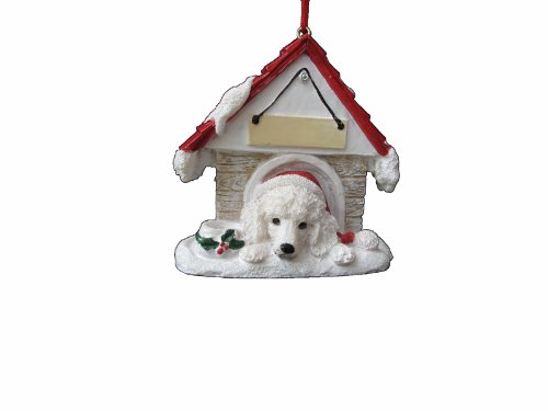 "Poodle Ornament White A Great Gift For Poodle Owners Hand Painted and Easily Personalized ""Doghouse Ornament"" With Magnetic Back"