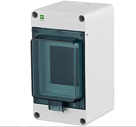 Naka24 FE Hermetica - Caja de distribución pequeña (IP65, 400 V, CA, montaje en superficie, transparente, 3 módulos 2201-01), color blanco: Amazon.es: Bricolaje y herramientas