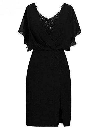 Court Fête Sirène Femmes Robe col Noir De V Mère Soirée Chiffon Jaeden Mariée cq80YtHgtW