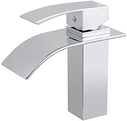 Square Waterfall Faucet Brass Chrome Bathroom Black Vanity Sink Basin Mixer Tap