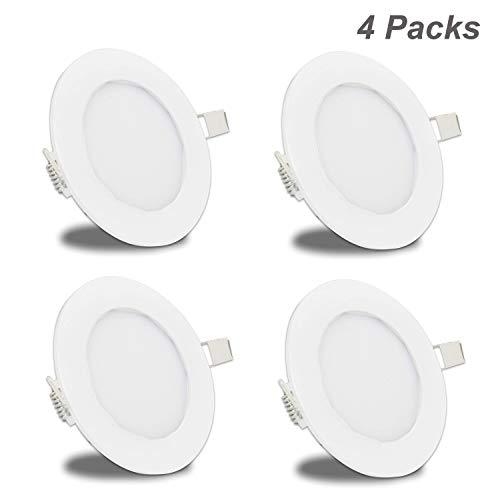 - Facon 6Inch LED Recessed Light Slim Panel Light with Flat Trim RV Puck Light, 12W 900 Lumens, 12V DC Interior Light