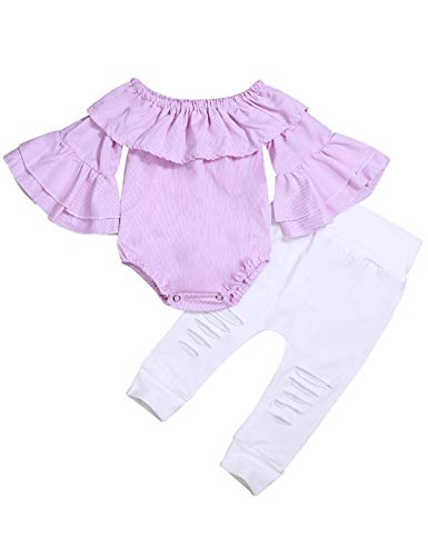 fiercewolf Baby Girl Summer Clothes Pink Striped Romper Jumpsuit Off Shoulder Bodysuit White Ripped Pants Newborn Infant Girl Outfits (6-12M/90)
