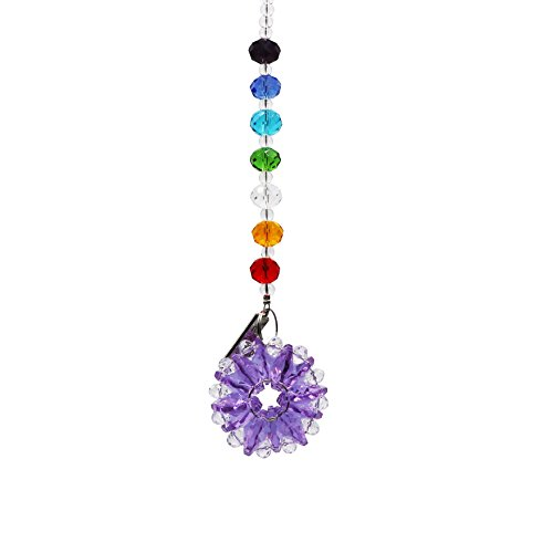 Waltz&F Chandelier Crystal Prism Rainbow Octogon Chakra Hanging Suncatcher Window Sunflower Hanging Crystals Ornament,light purple